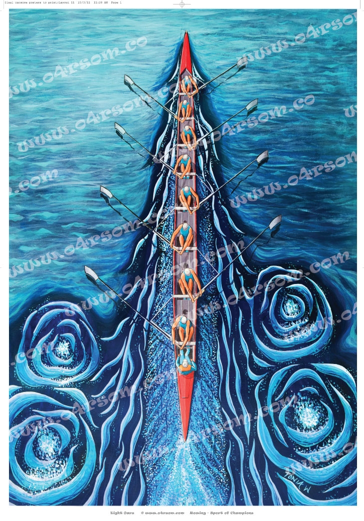 Blue Eight: like 'EightOars' only with blue water. o4rsom rowing art.