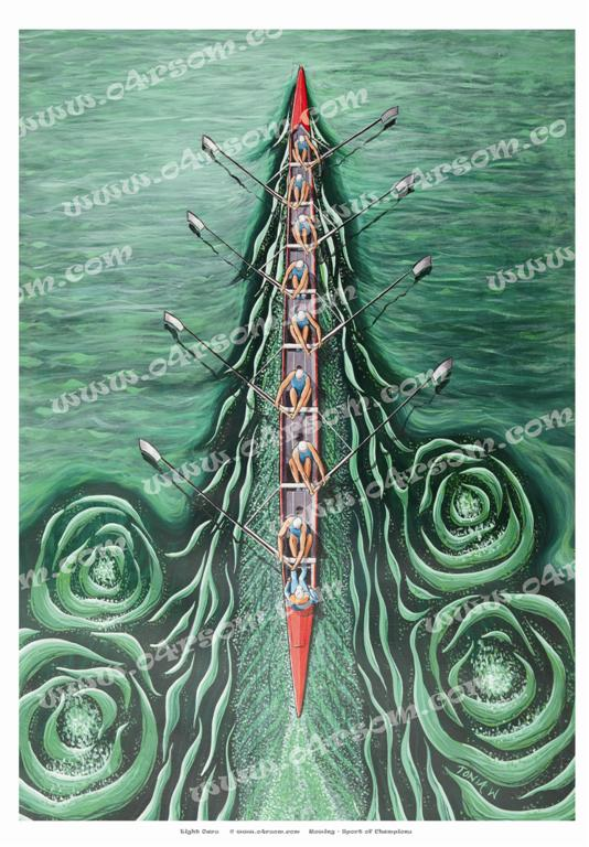 Eight Oars: Eight on green water, viewed from above and behind. o4rsom rowing art.