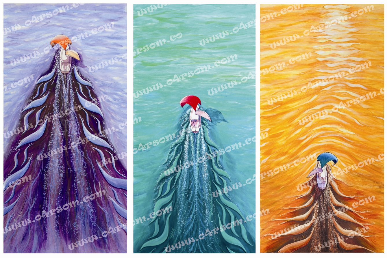 To Sail Triptych: all three 'To Sail' images together. o4rsom sailing art.