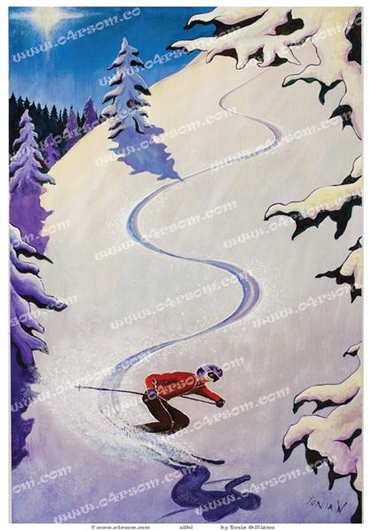 sSki: the first of a Winter Sports series. o4rsom skiing art.